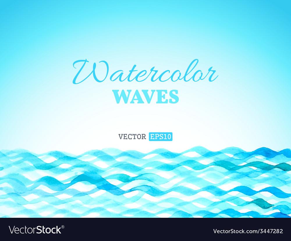 Watercolor waves landscape vector | Price: 1 Credit (USD $1)