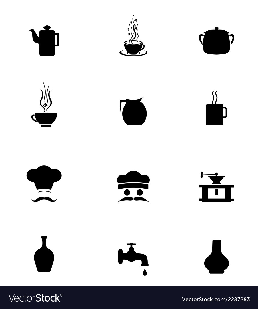 Black icon set kitchen vector | Price: 1 Credit (USD $1)