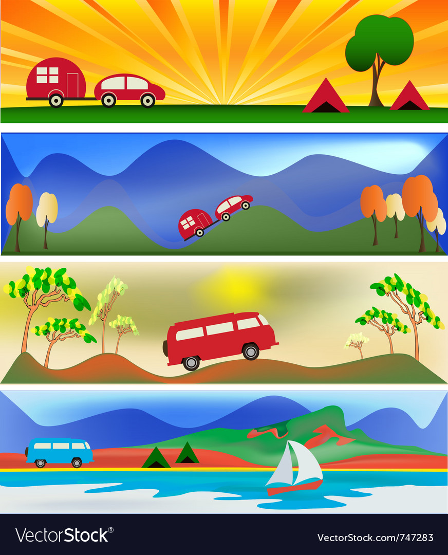 Camping and caravaning vector | Price: 1 Credit (USD $1)