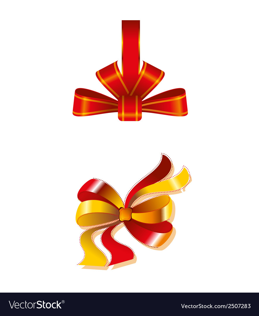 Close up of a red ribbon bow gift isolated vector | Price: 1 Credit (USD $1)