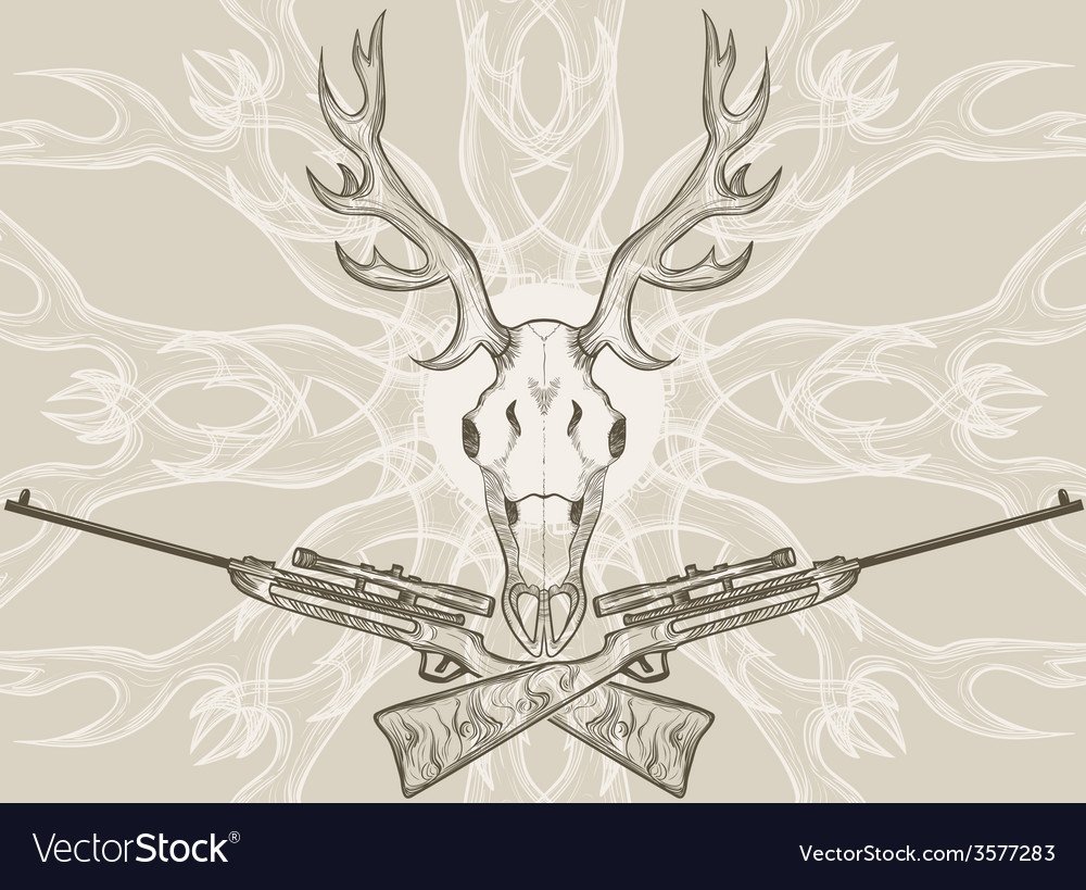 Deer skull and crossed rifles vector | Price: 1 Credit (USD $1)