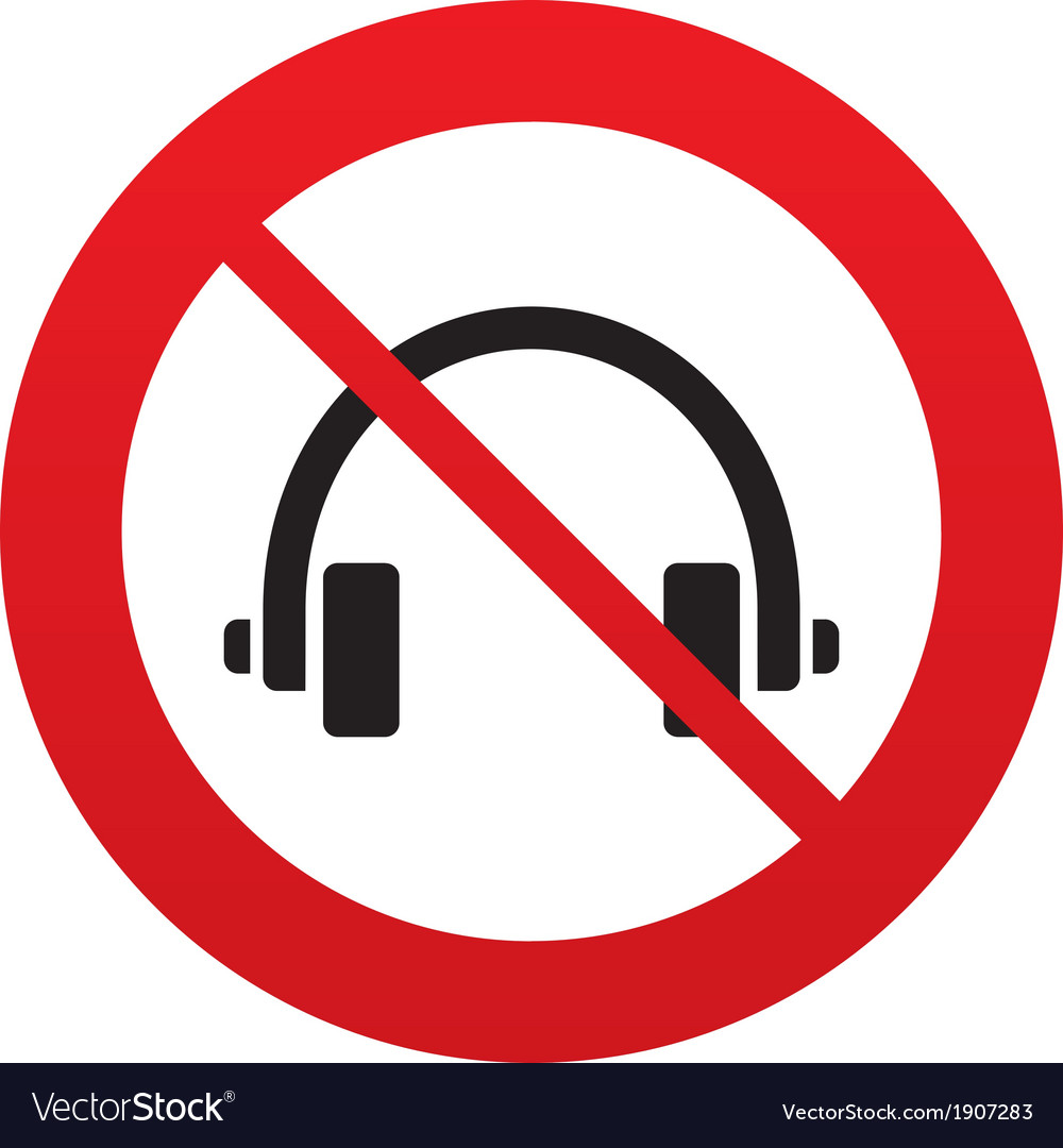 Dont use headphones sign icon earphones button vector | Price: 1 Credit (USD $1)