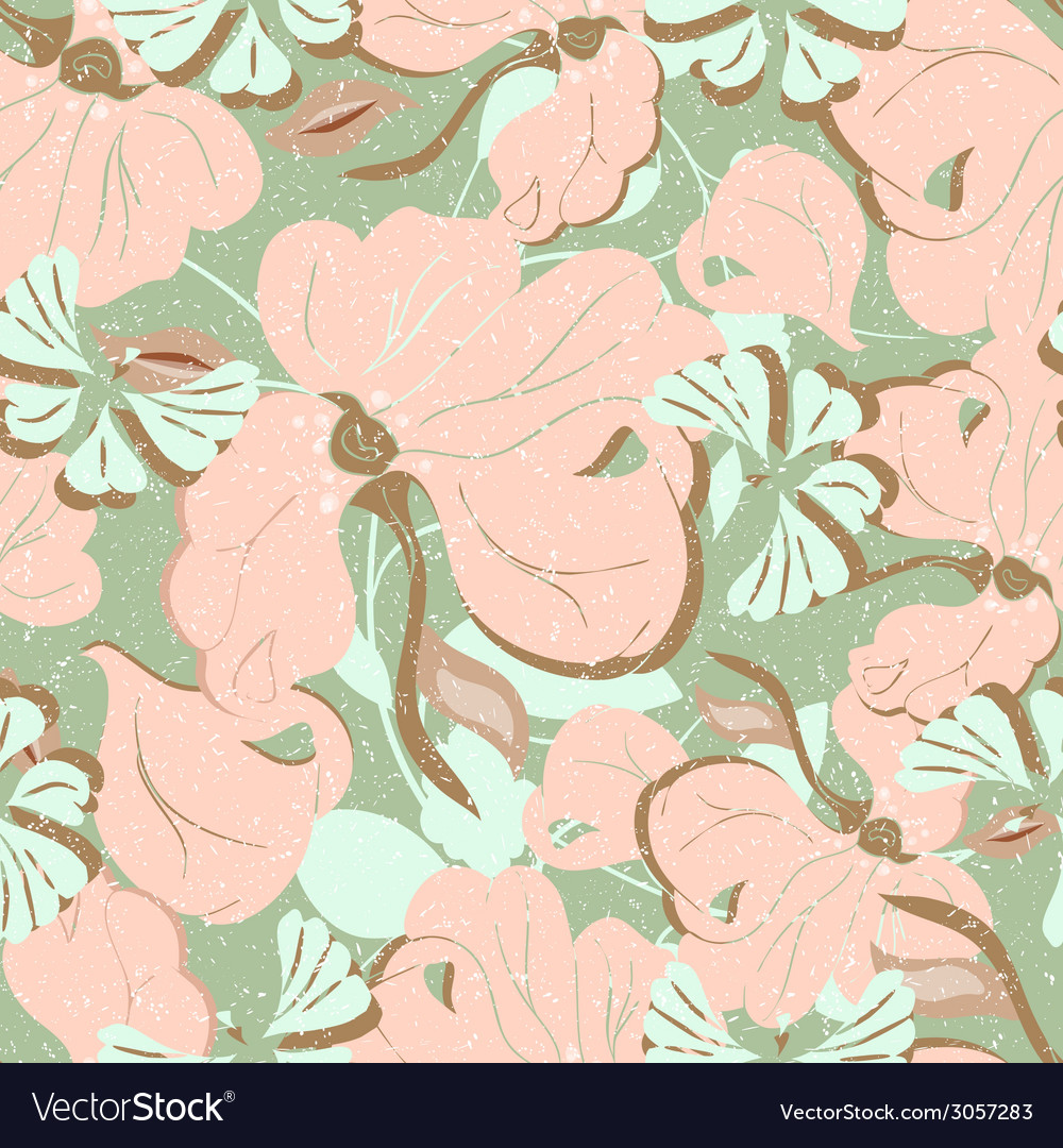 Pink flowers seamless retro vector | Price: 1 Credit (USD $1)