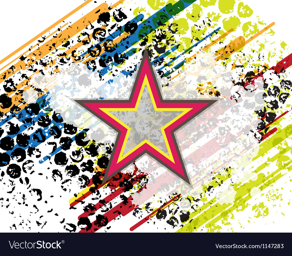 Retro star on grunge background vector | Price: 1 Credit (USD $1)