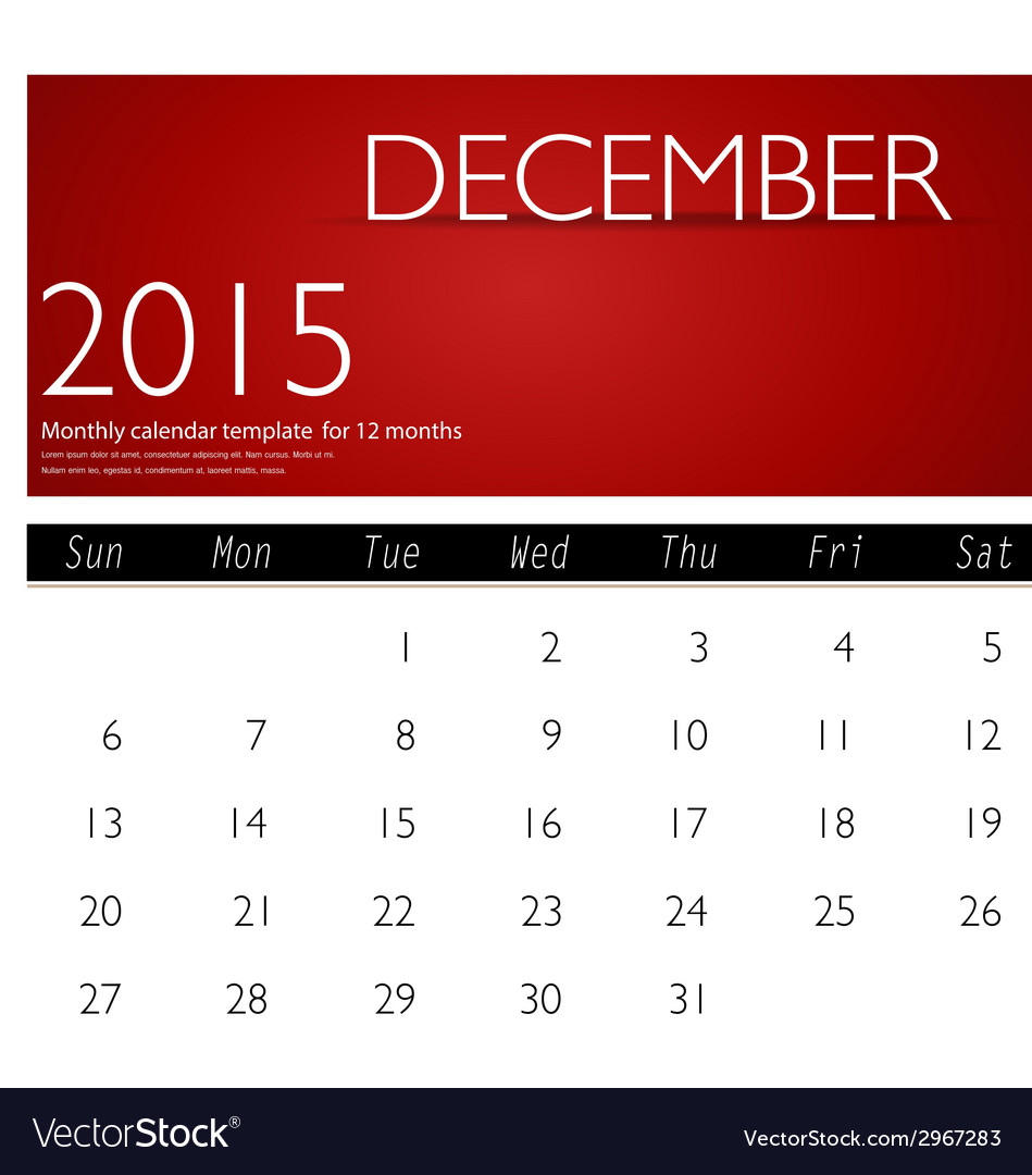 Simple 2015 calendar december vector | Price: 1 Credit (USD $1)