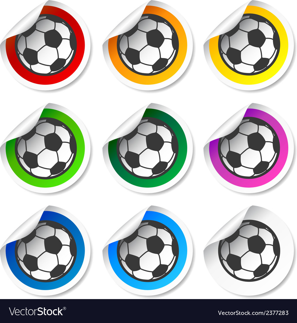 Soccer football stickers labels set vector | Price: 1 Credit (USD $1)