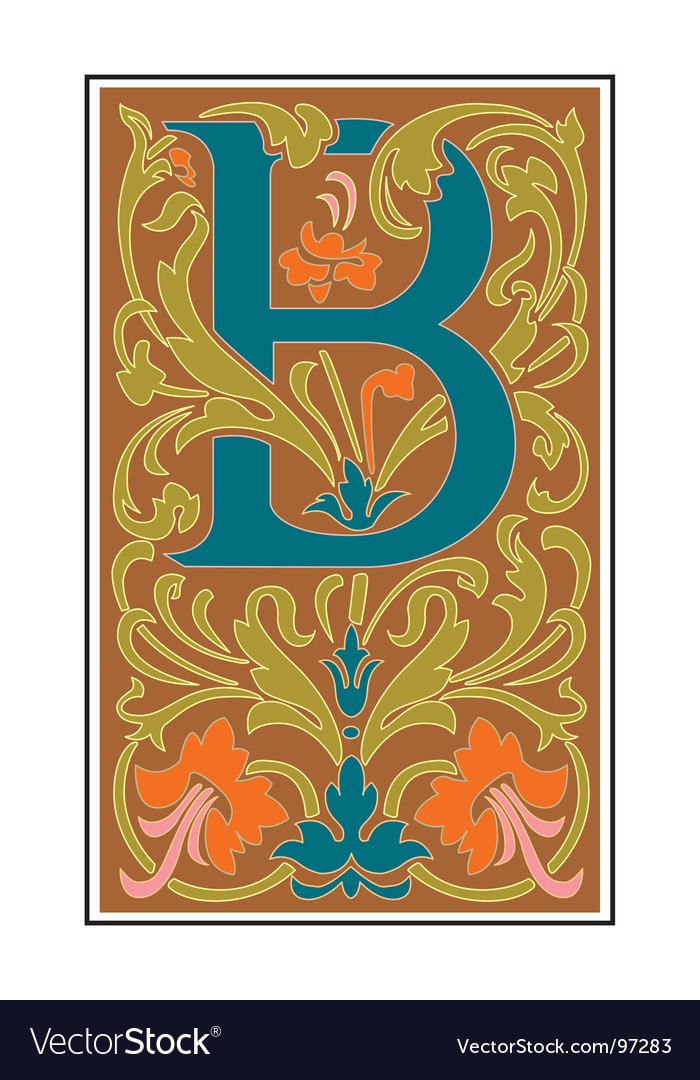 Victorian letter b vector