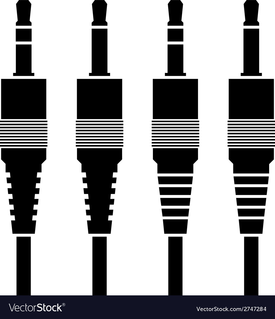 Audio jack connector black symbols vector | Price: 1 Credit (USD $1)