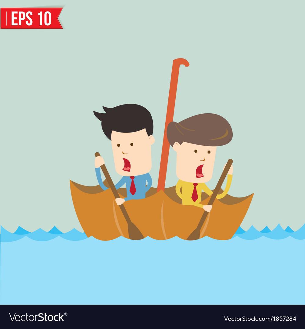 Cartoon business man rowing a boat in his umbrella vector | Price: 1 Credit (USD $1)