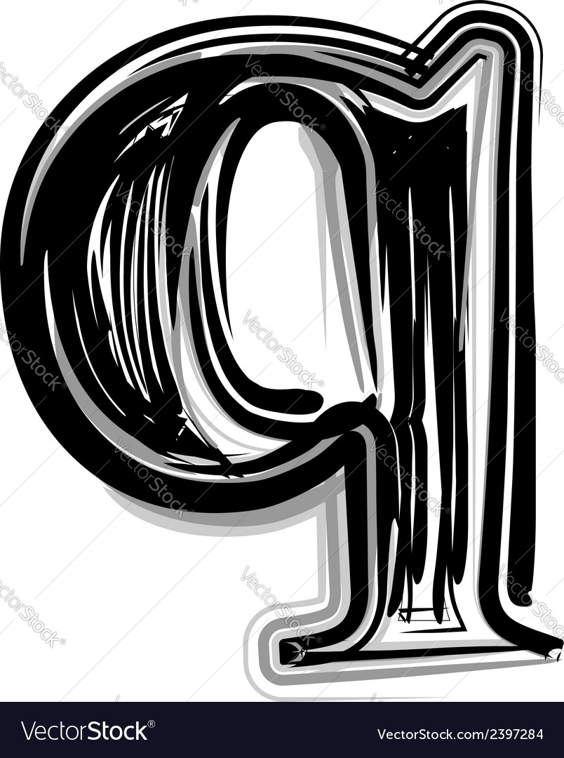 Freehand typography letter q vector | Price: 1 Credit (USD $1)