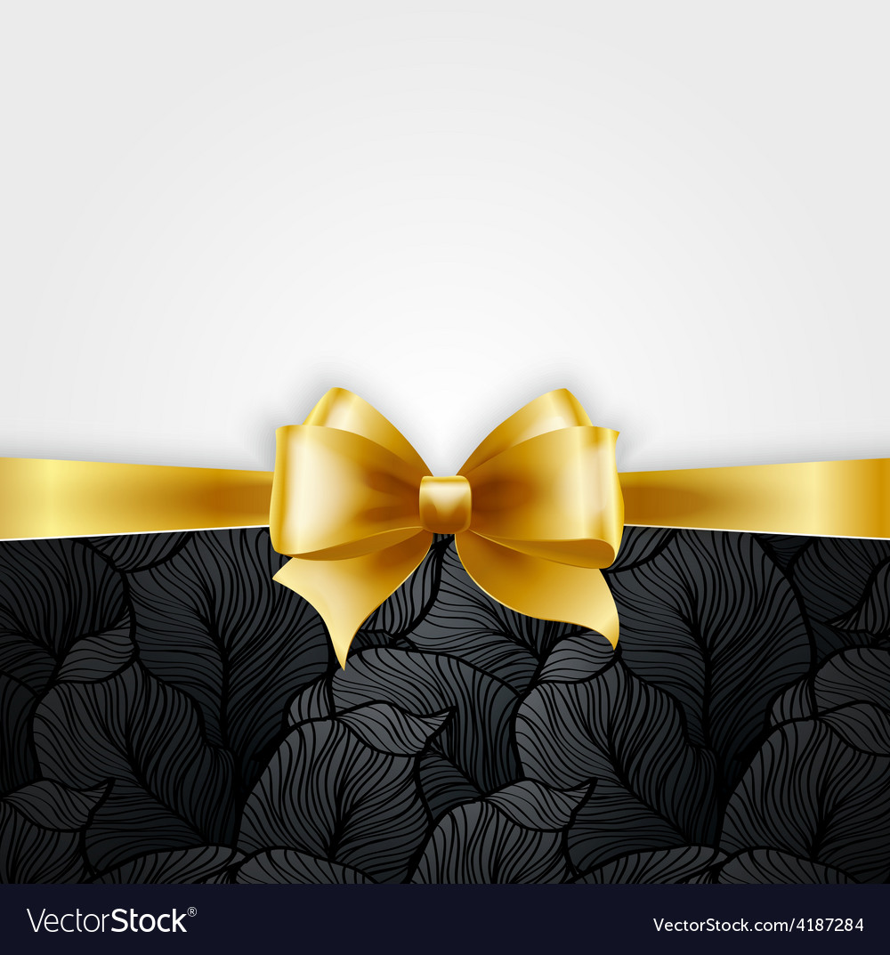 Invitation card with gold holiday ribbon on vector | Price: 3 Credit (USD $3)