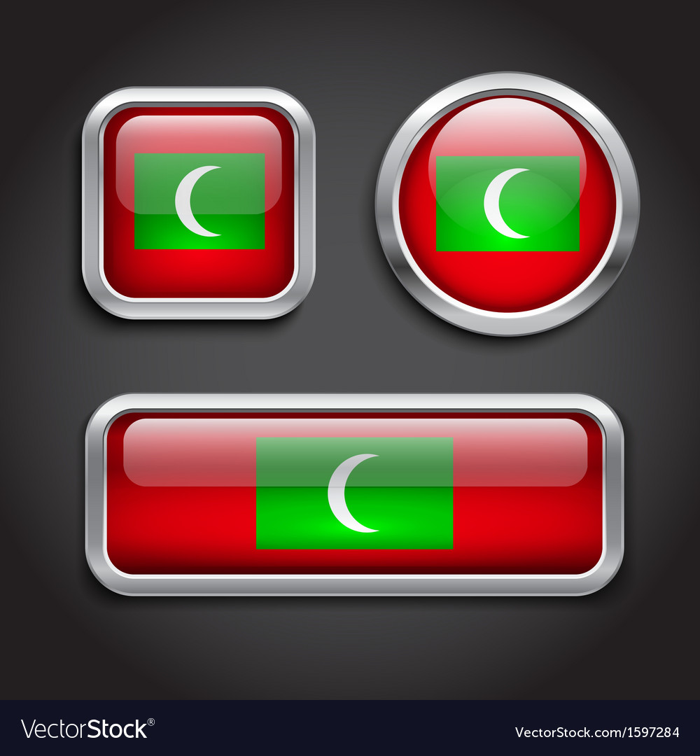 Maldives flag glass buttons vector | Price: 1 Credit (USD $1)