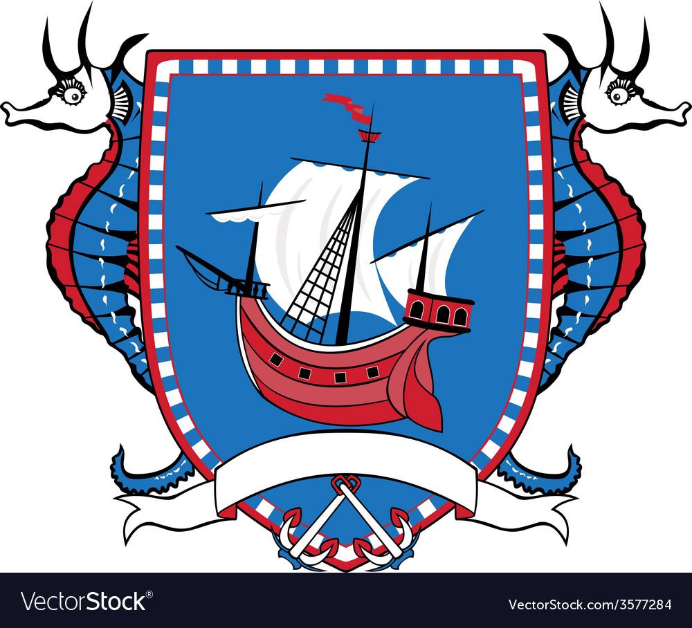 Marine emblem coat of arms sailboat vector | Price: 1 Credit (USD $1)