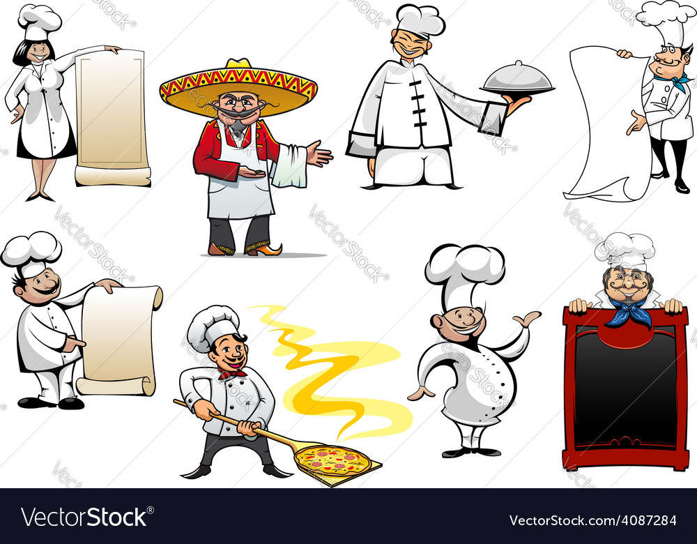 Variety cartoon chefs and bakers vector | Price: 1 Credit (USD $1)