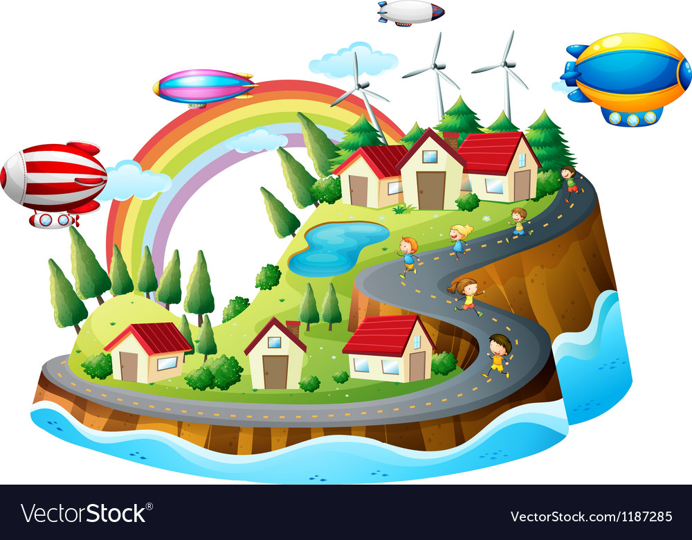A view of the village with kids vector | Price: 1 Credit (USD $1)