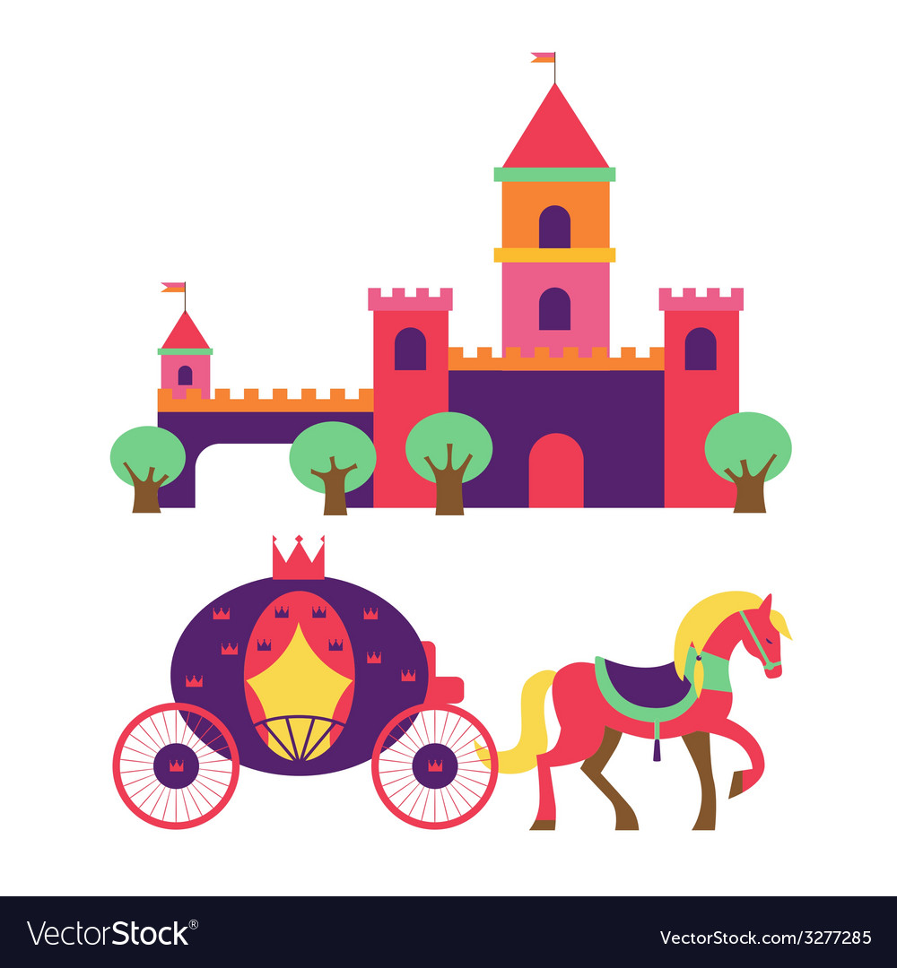 Castle and princess carriage vector | Price: 1 Credit (USD $1)