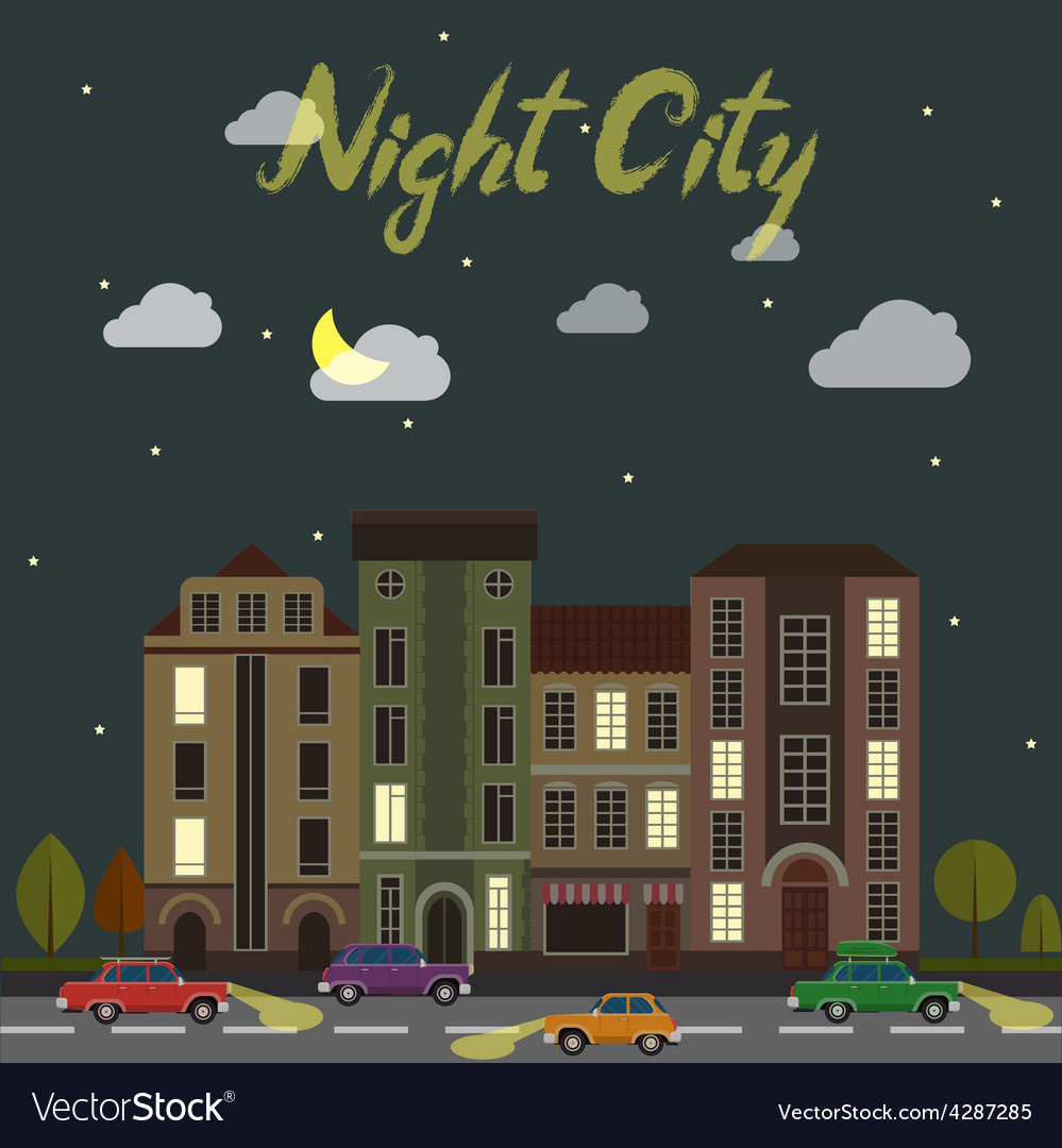 City street at night cars and buildings in vector | Price: 1 Credit (USD $1)
