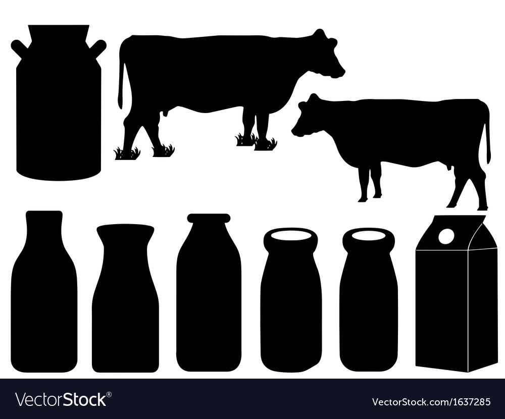 Cow silhouette and milk bottles vector | Price: 1 Credit (USD $1)