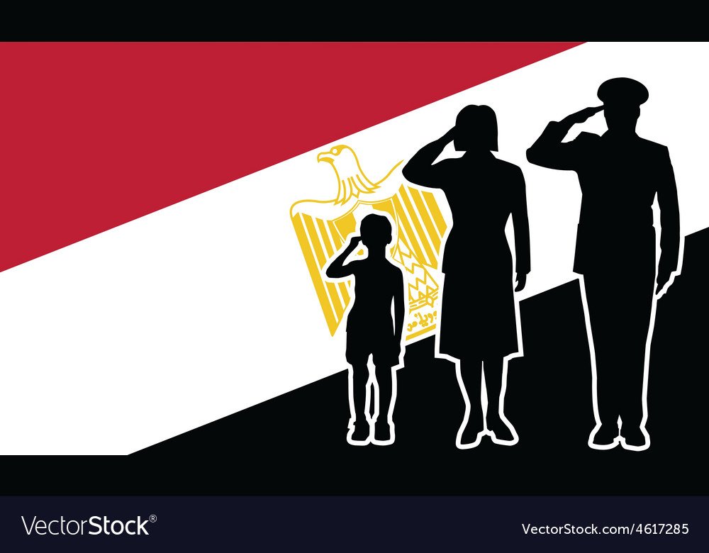 Egypt republic soldier family salute vector | Price: 1 Credit (USD $1)