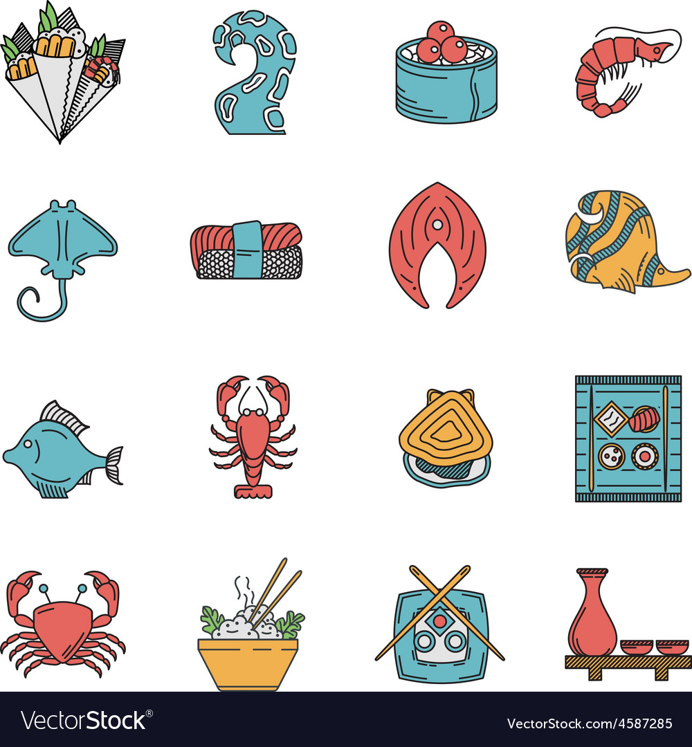 Flat icons for seafood menu vector | Price: 1 Credit (USD $1)