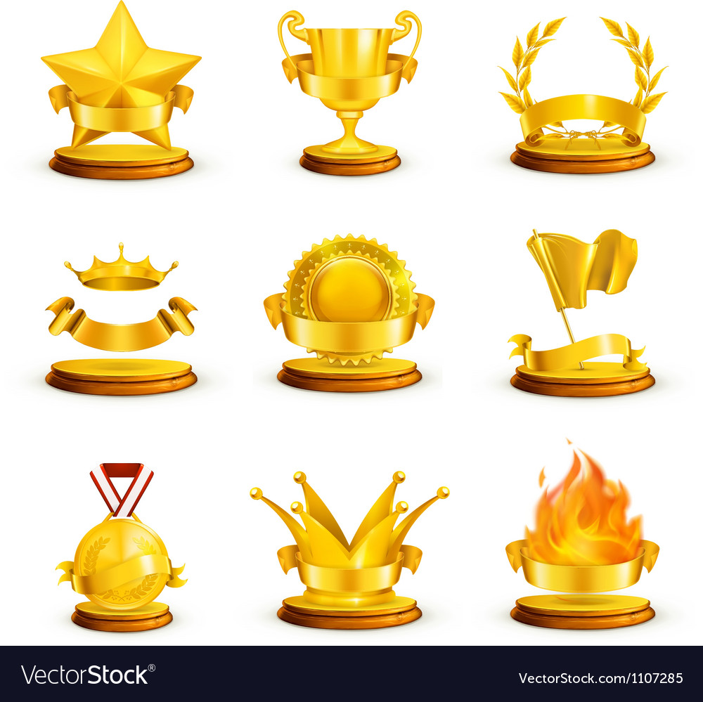 Gold awards set vector | Price: 3 Credit (USD $3)