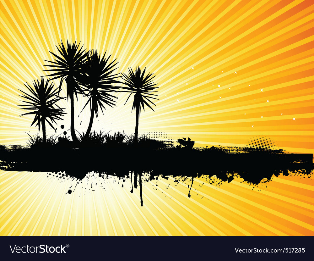 Grunge palm tree vector | Price: 1 Credit (USD $1)