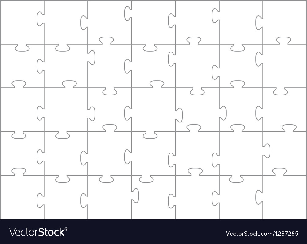 Jigsaw puzzle template 35 pieces vector | Price: 1 Credit (USD $1)