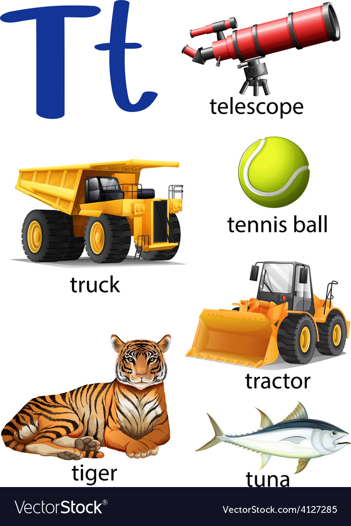 Letter t for telescope truck tennis ball tractor vector | Price: 3 Credit (USD $3)