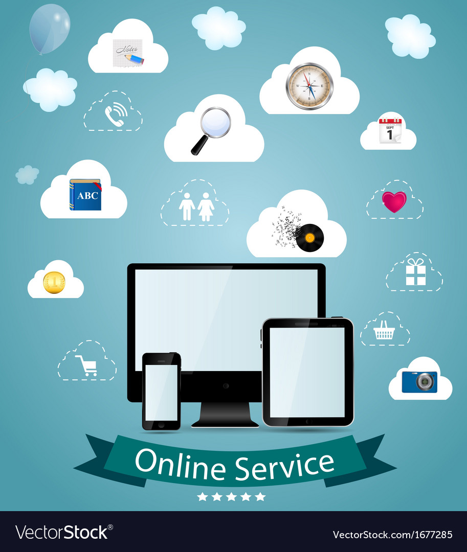 Online service concept vector | Price: 1 Credit (USD $1)