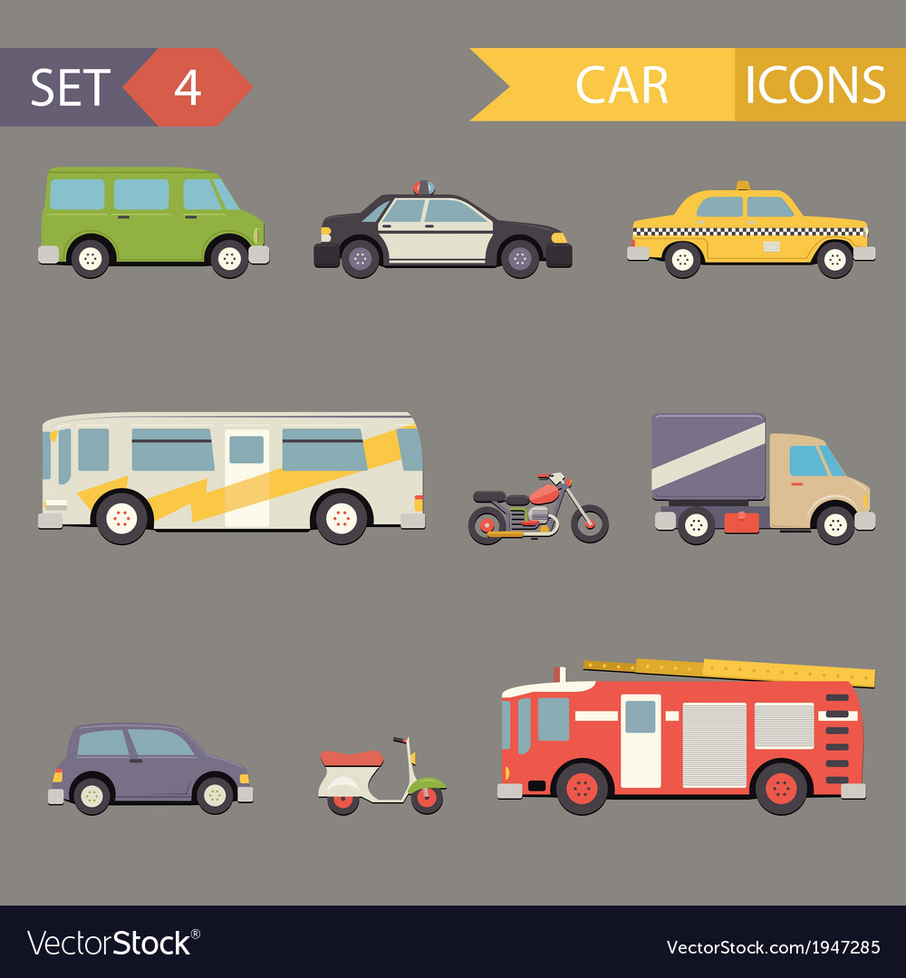 Retro flat car icons set vector | Price: 1 Credit (USD $1)