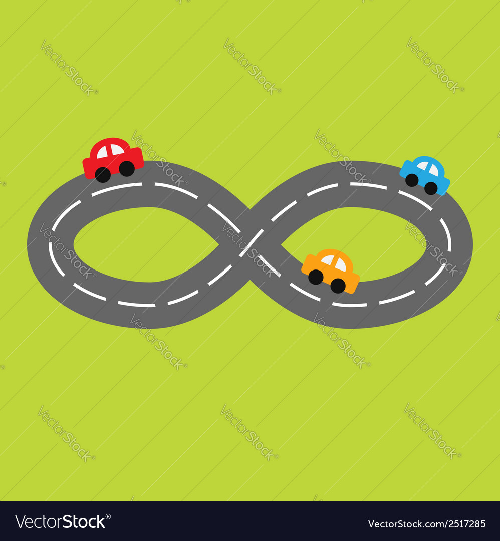 Road infinity sign and three cartoon cars vector | Price: 1 Credit (USD $1)