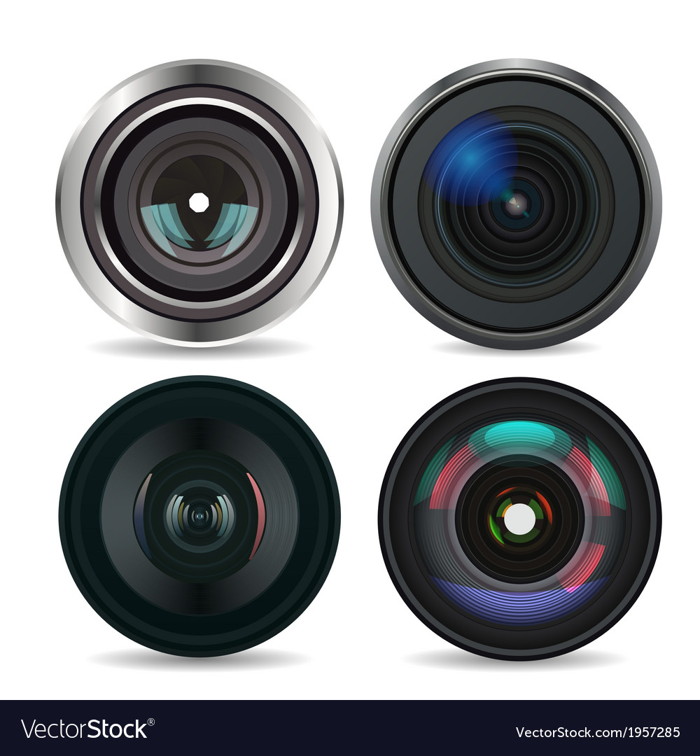 Set of photo lens isolated on white background vector | Price: 1 Credit (USD $1)