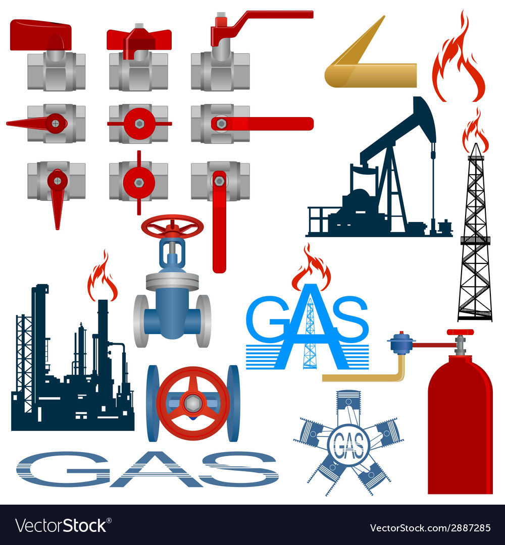Set the gas production industry vector | Price: 1 Credit (USD $1)