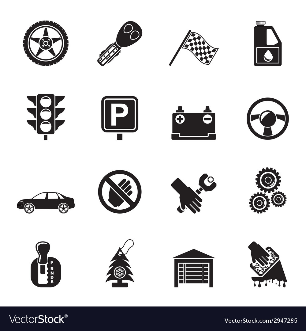 Silhouette car and transportation icons vector | Price: 1 Credit (USD $1)