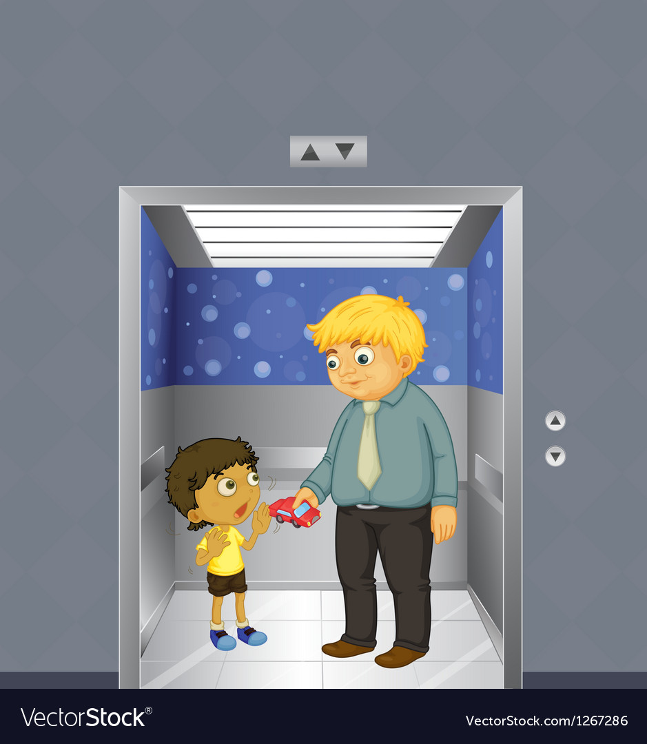 A man and a kid inside the elevator vector | Price: 1 Credit (USD $1)