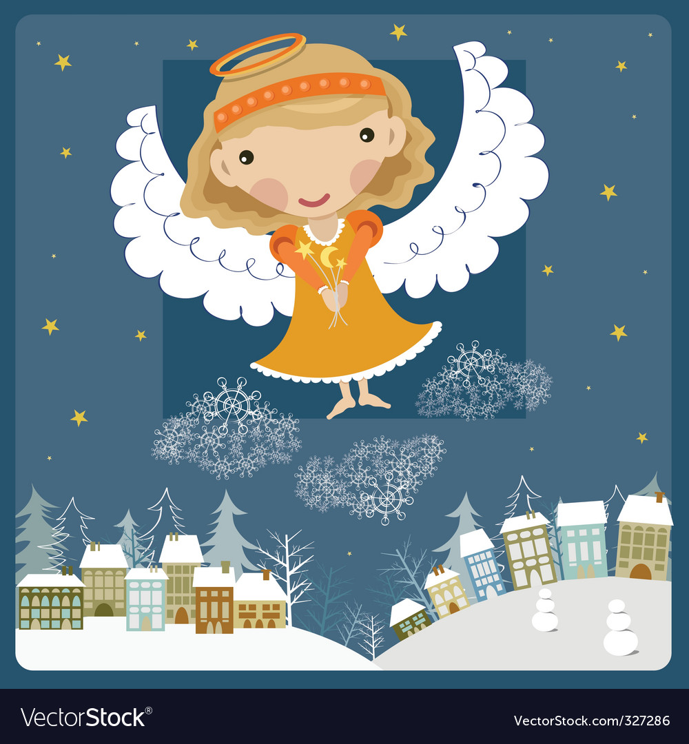 Angel above the town vector | Price: 1 Credit (USD $1)