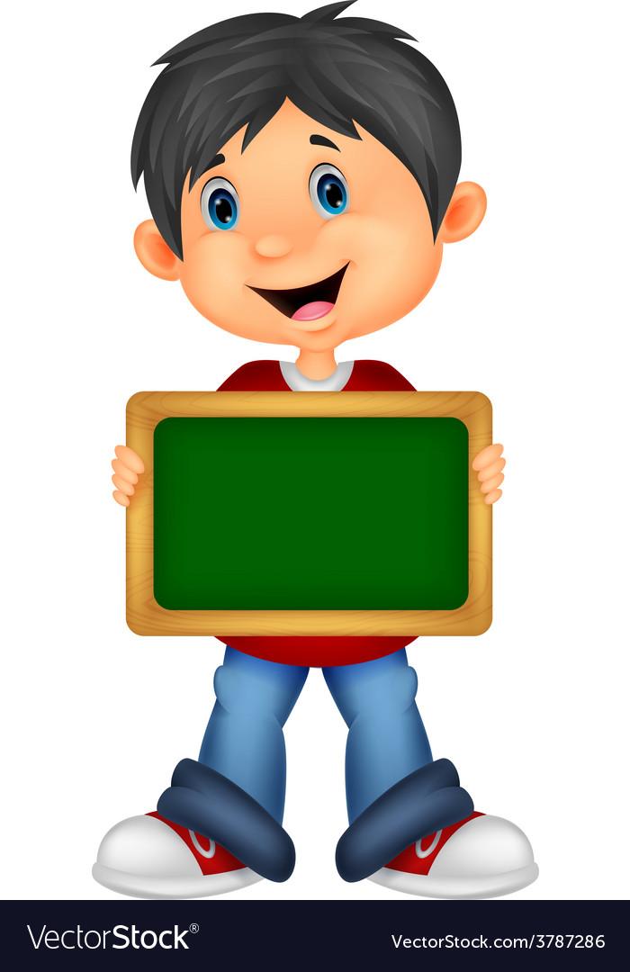 Cartoon boy holding board vector | Price: 1 Credit (USD $1)