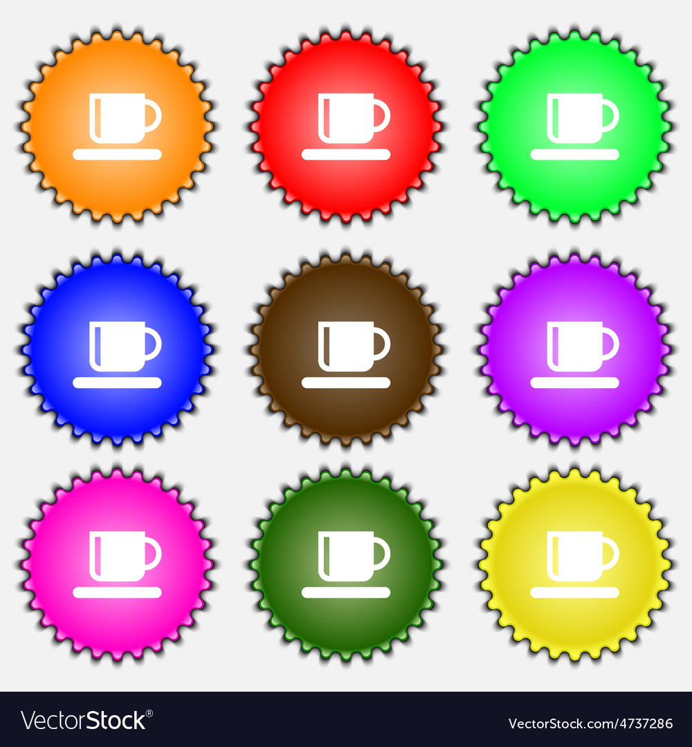 Coffee cup icon sign a set of nine different vector   Price: 1 Credit (USD $1)