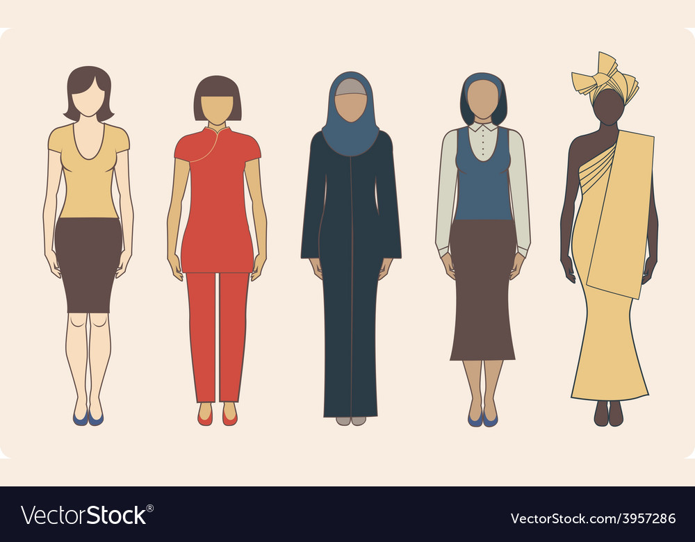 Different nationalities women vector | Price: 1 Credit (USD $1)
