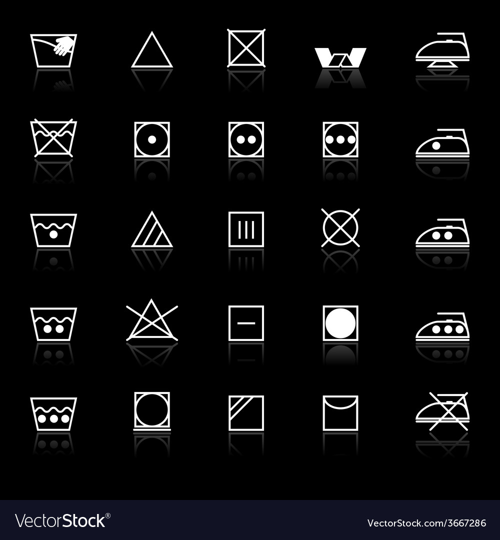 Fabric care sign and symbol icons with reflect on vector | Price: 1 Credit (USD $1)