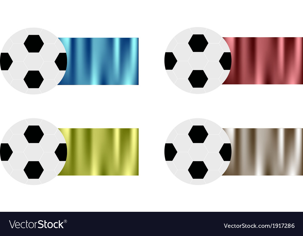 Four soccer balls with blue red green silver vector | Price: 1 Credit (USD $1)
