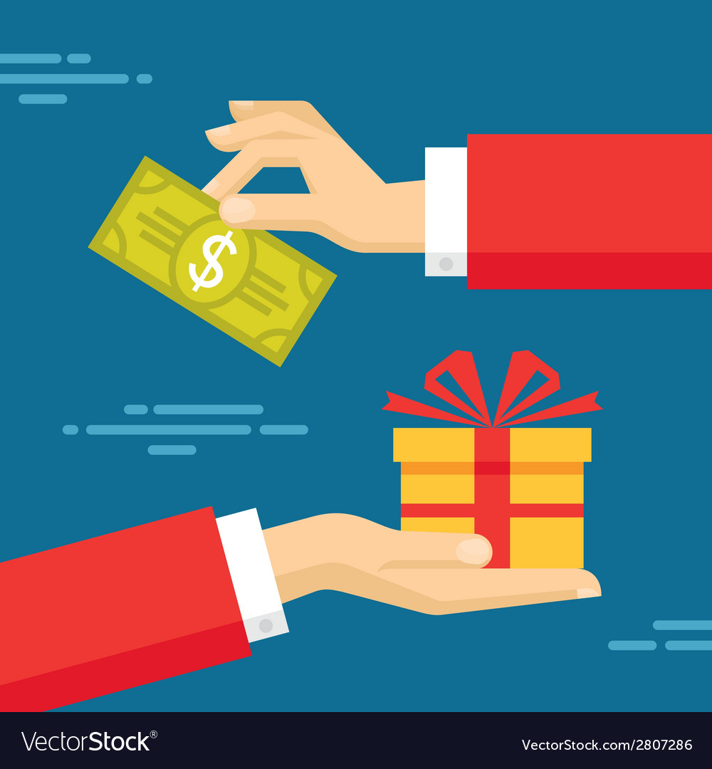 Human hands with dollar money and present gift vector