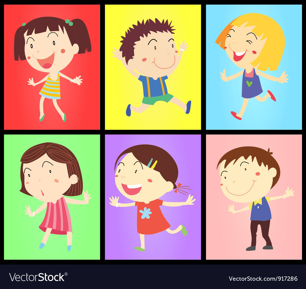 Kids on colours vector | Price: 3 Credit (USD $3)