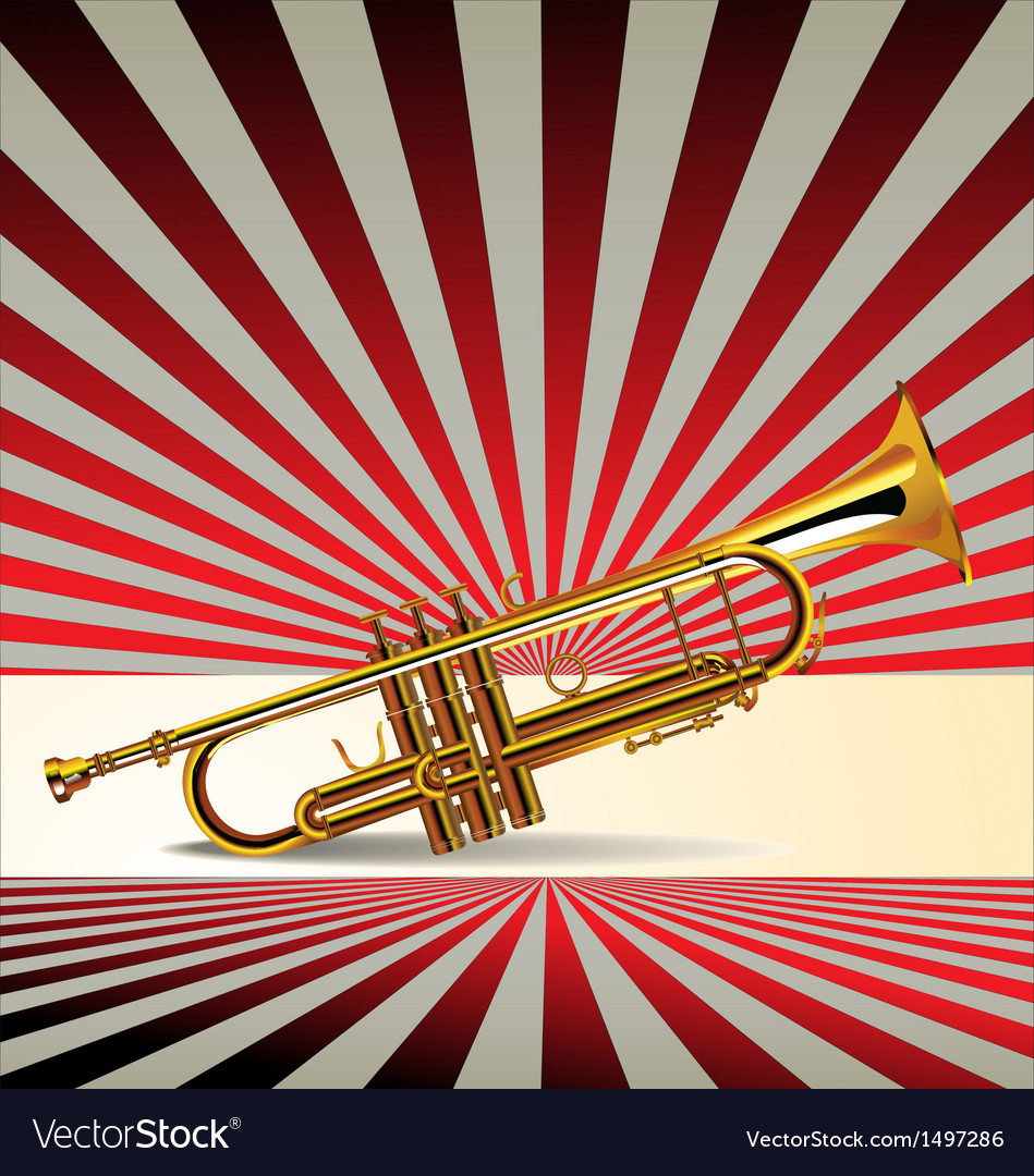 Trumpet retro background vector | Price: 1 Credit (USD $1)