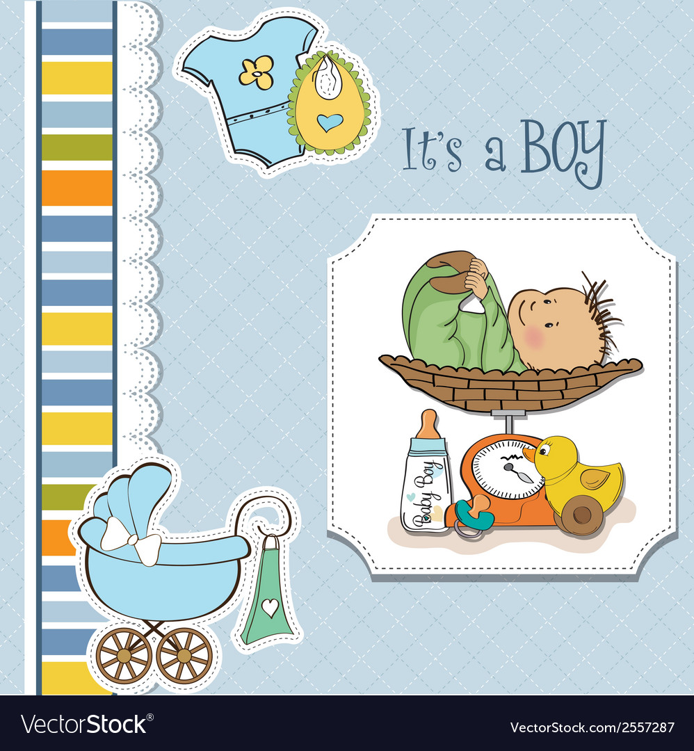 Baby boy weighed on the scale vector | Price: 1 Credit (USD $1)