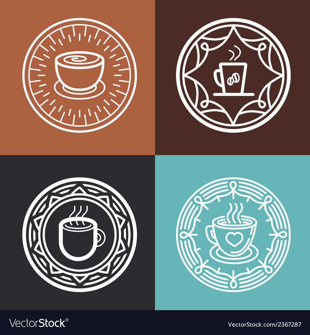 Coffee mug on round emblem vector | Price: 1 Credit (USD $1)
