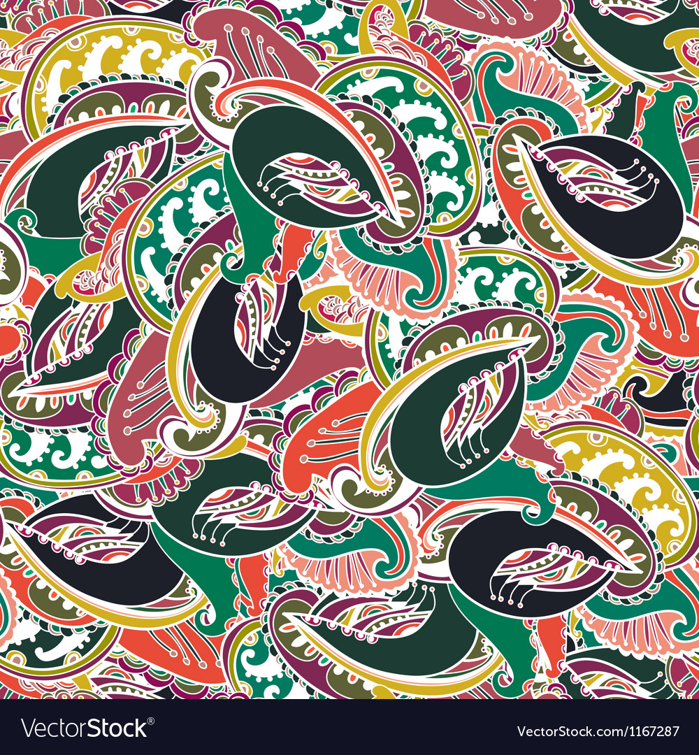 Colorful indian paisley seamless background vector | Price: 1 Credit (USD $1)
