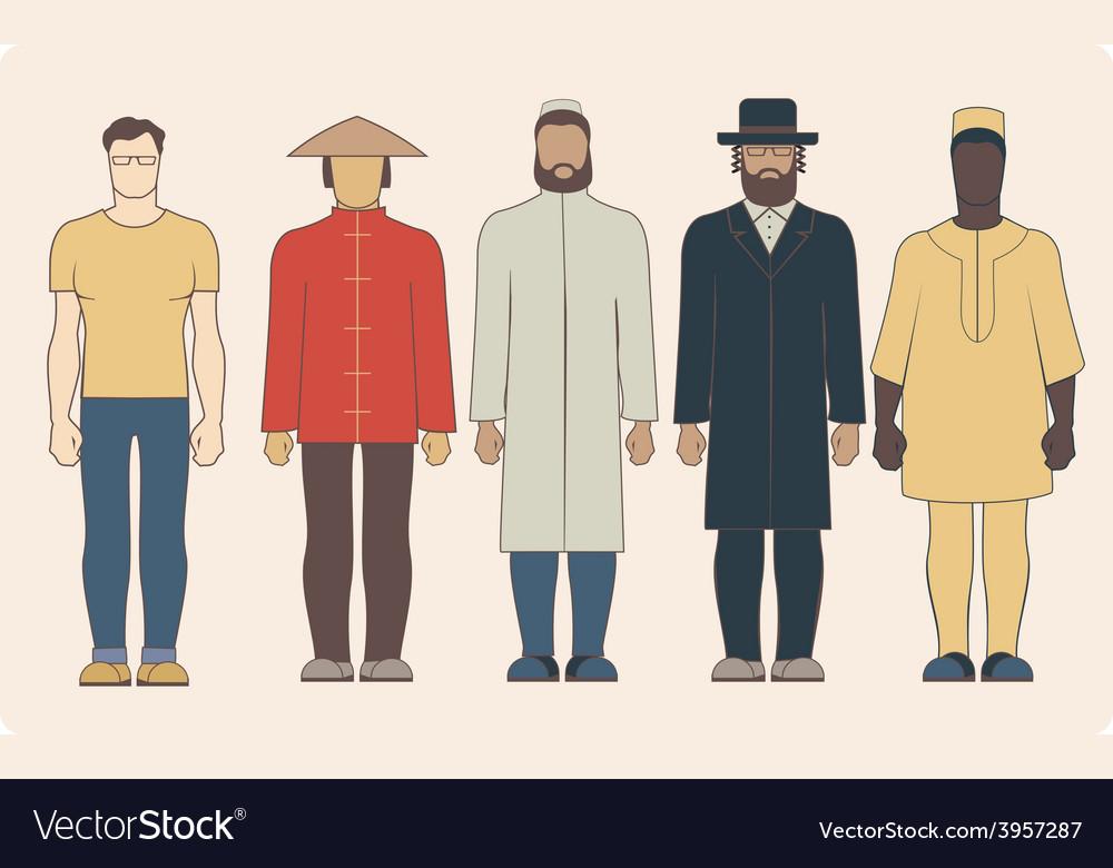 Different nationalities men vector