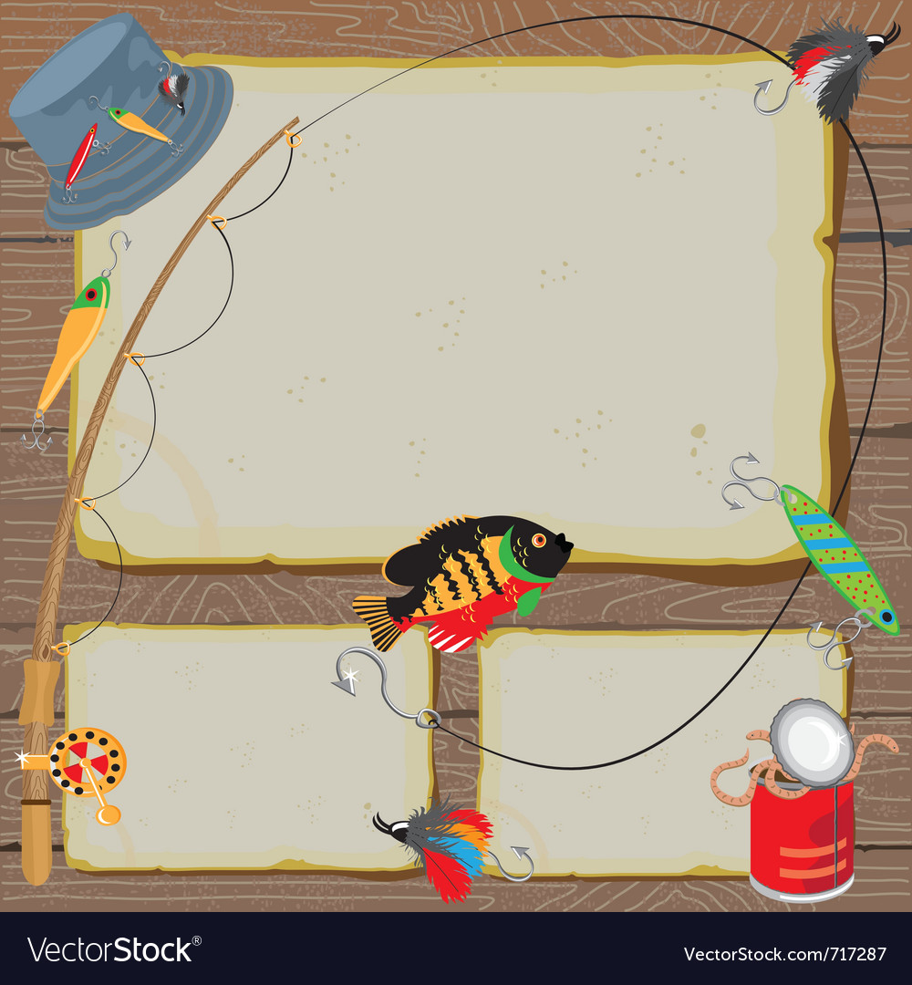 Fishing party invitation vector | Price: 3 Credit (USD $3)