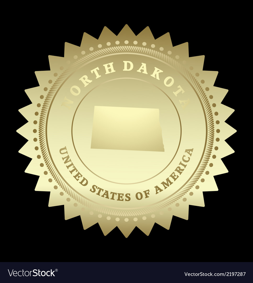 Gold star label north dakota vector | Price: 1 Credit (USD $1)